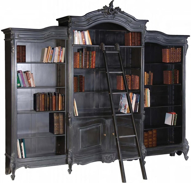Antique chinese chippendale chair - Moulin Noir Bookcase French Boudoir Shabby Chic Black Coach House