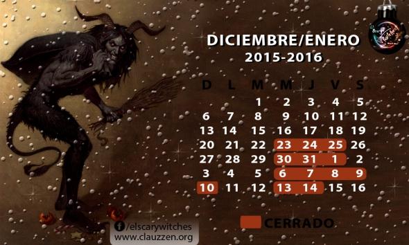 Calendario 2015-2016 navidad scary